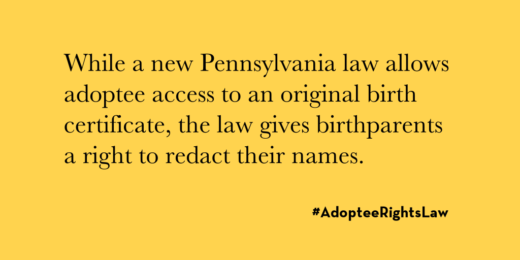 pennsylvania original birth certificates | adoptee rights law