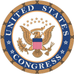 Seal of the United States Congress. Round insignia with gold border, internal royal blue circle with the words in white United States Congress and an American Eagle icon in the middle with gold stars above.